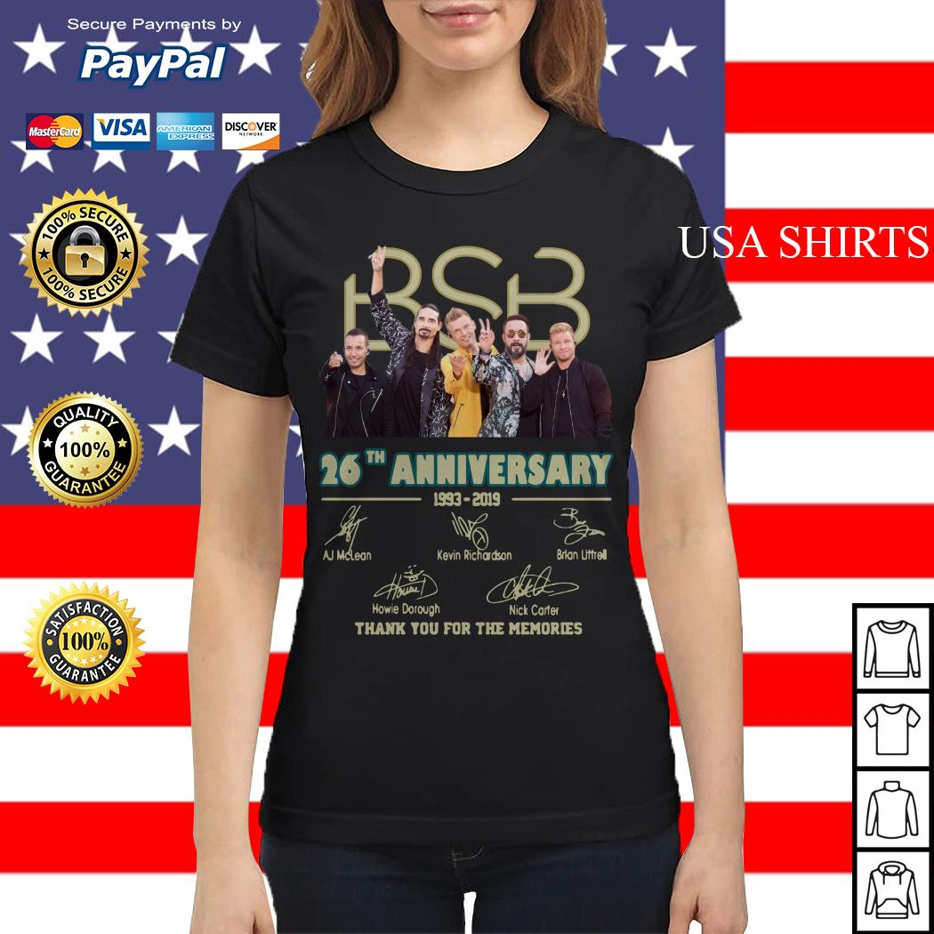 BSB 26th anniversary 1993 2019 signature thank you for the memories Ladies tee