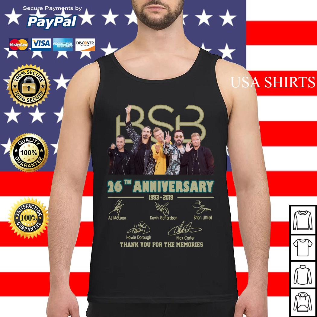BSB 26th anniversary 1993 2019 signature thank you for the memories Tank top