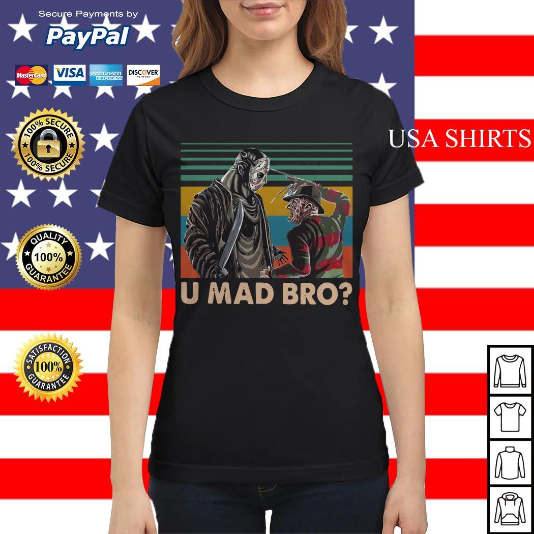 Freddy Krueger and Jason Voorhees U Mad Bro Vintage Ladies tee
