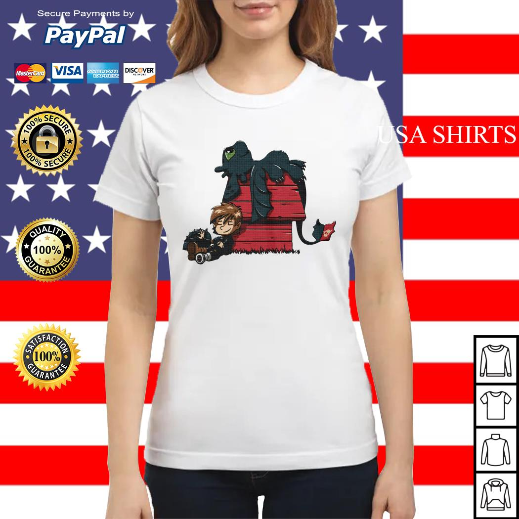 Hiccup with Toothless Peanuts style Ladies tee