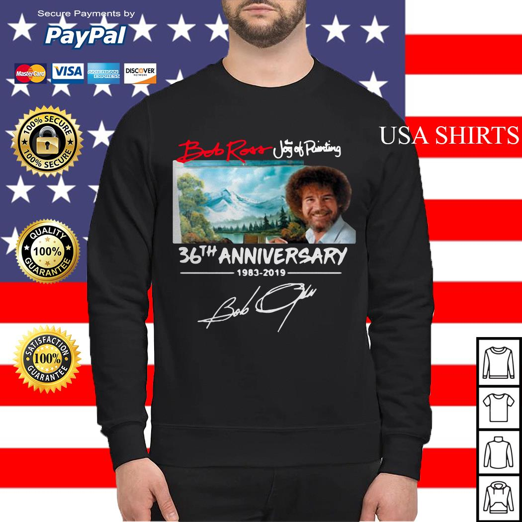Hot Bob Ross The Joy of Painting 36th Anniversary signature Sweater