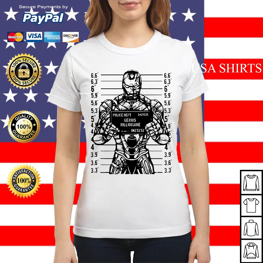 Iron man police dept genius billionaire Ladies tee