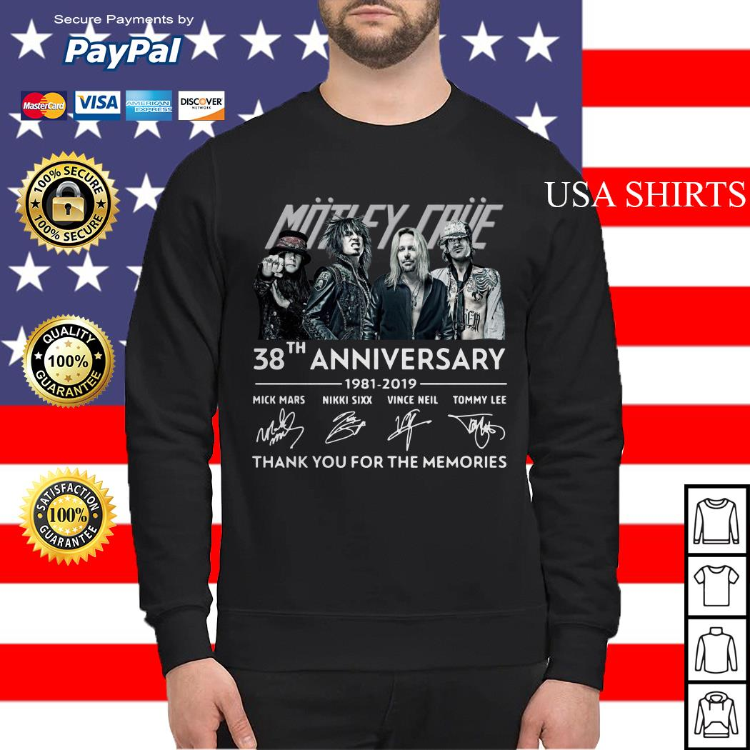 Motley Crue 38th anniversary 1981 2019 thank you for the memories Sweater