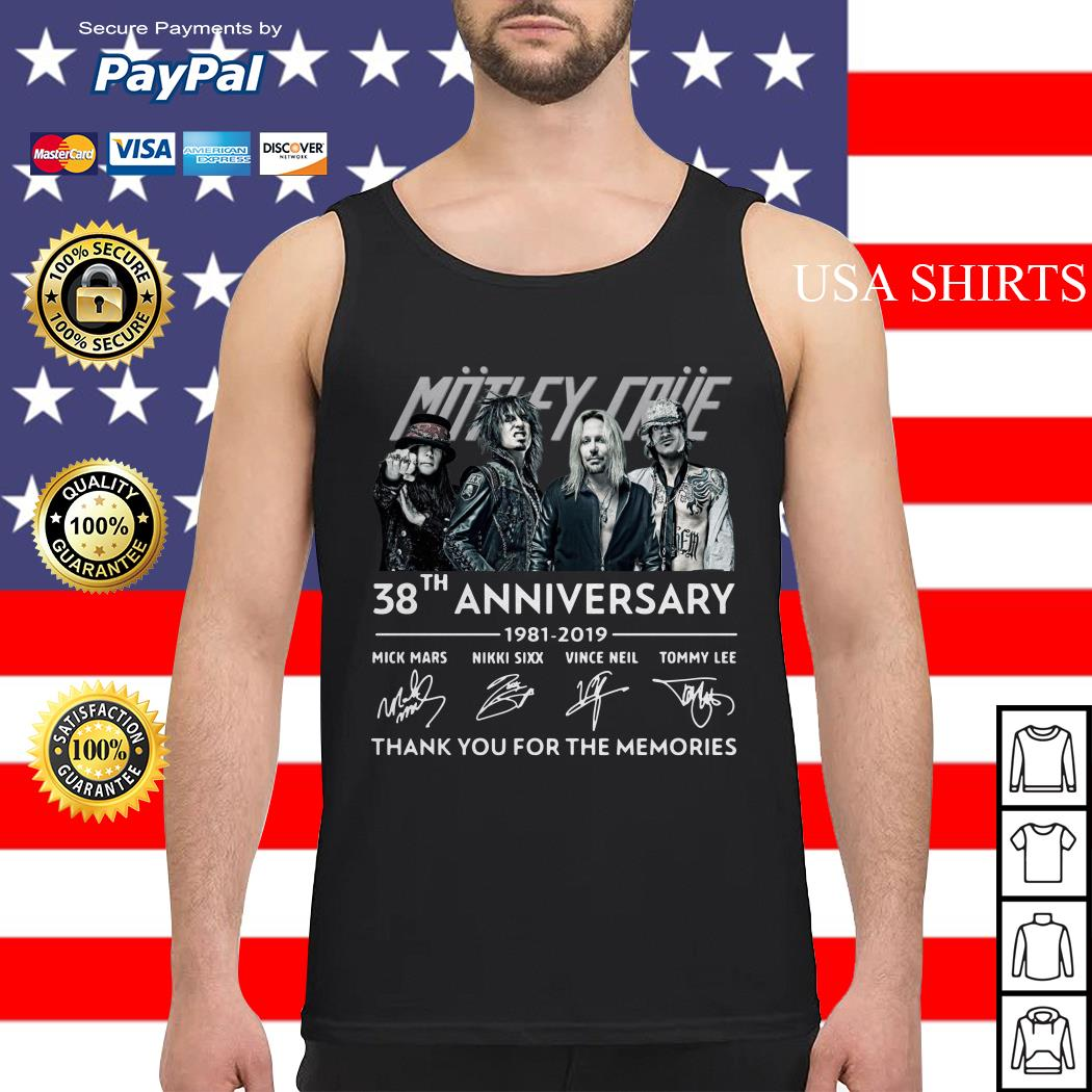 Motley Crue 38th anniversary 1981 2019 thank you for the memories Tank top