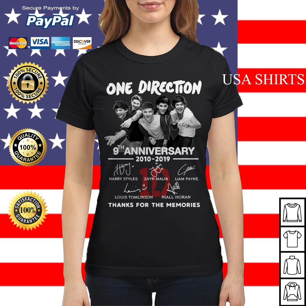 One Direction 9th anniversary 2010 2019 thank you for the memories Ladies tee