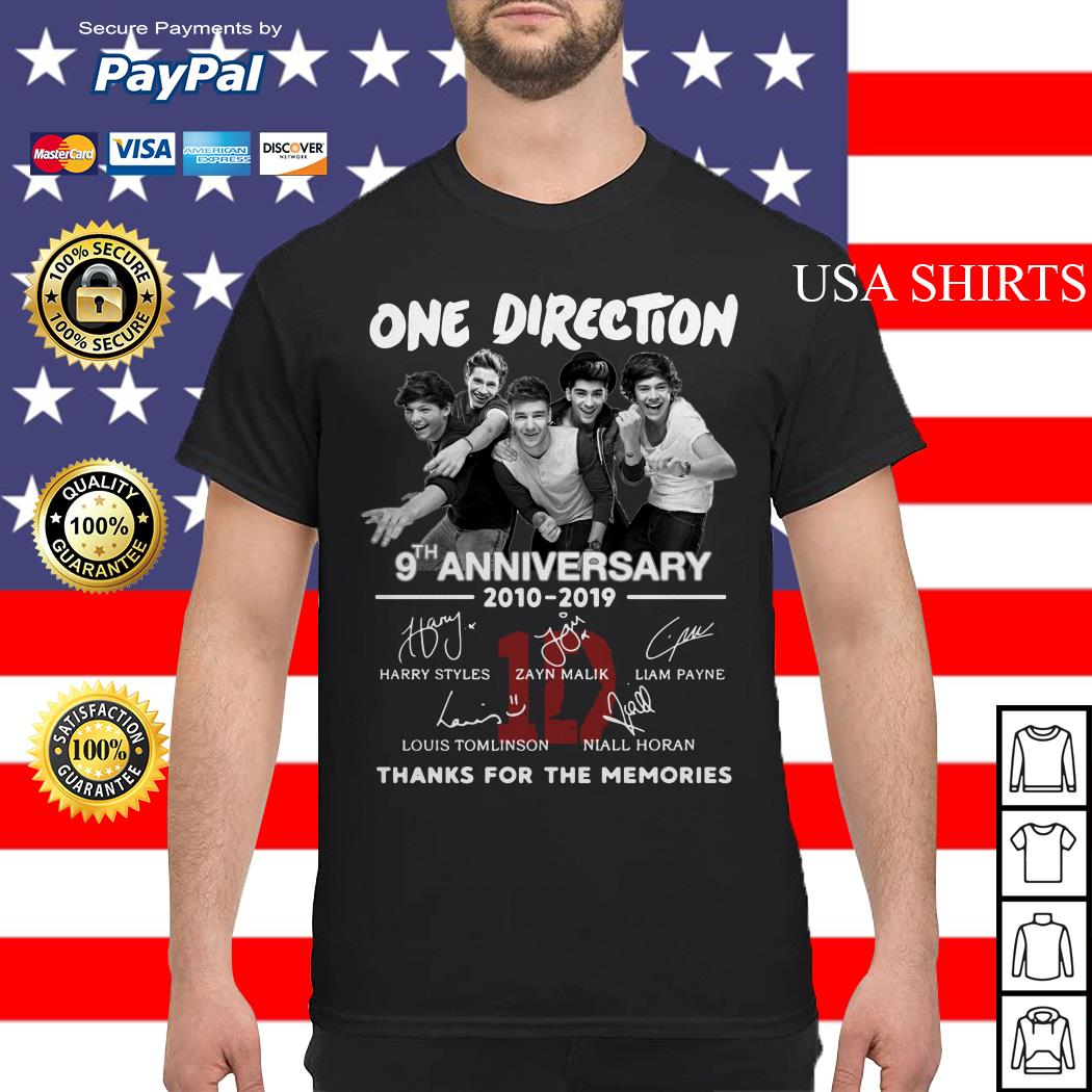One Direction 9th anniversary 2010 2019 thank you for the memories shirt