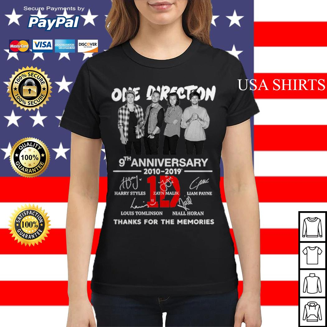 One Direction 9th anniversary 2010-2019 thanks for the memories Ladies tee