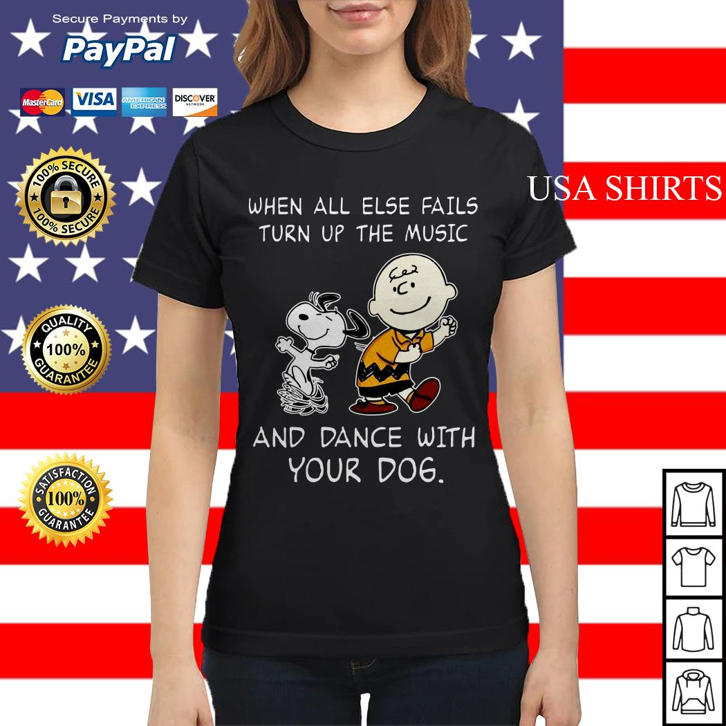 Snoopy and Charlie Brown When all else fails turn up the music and dance with your dog Ladies tee