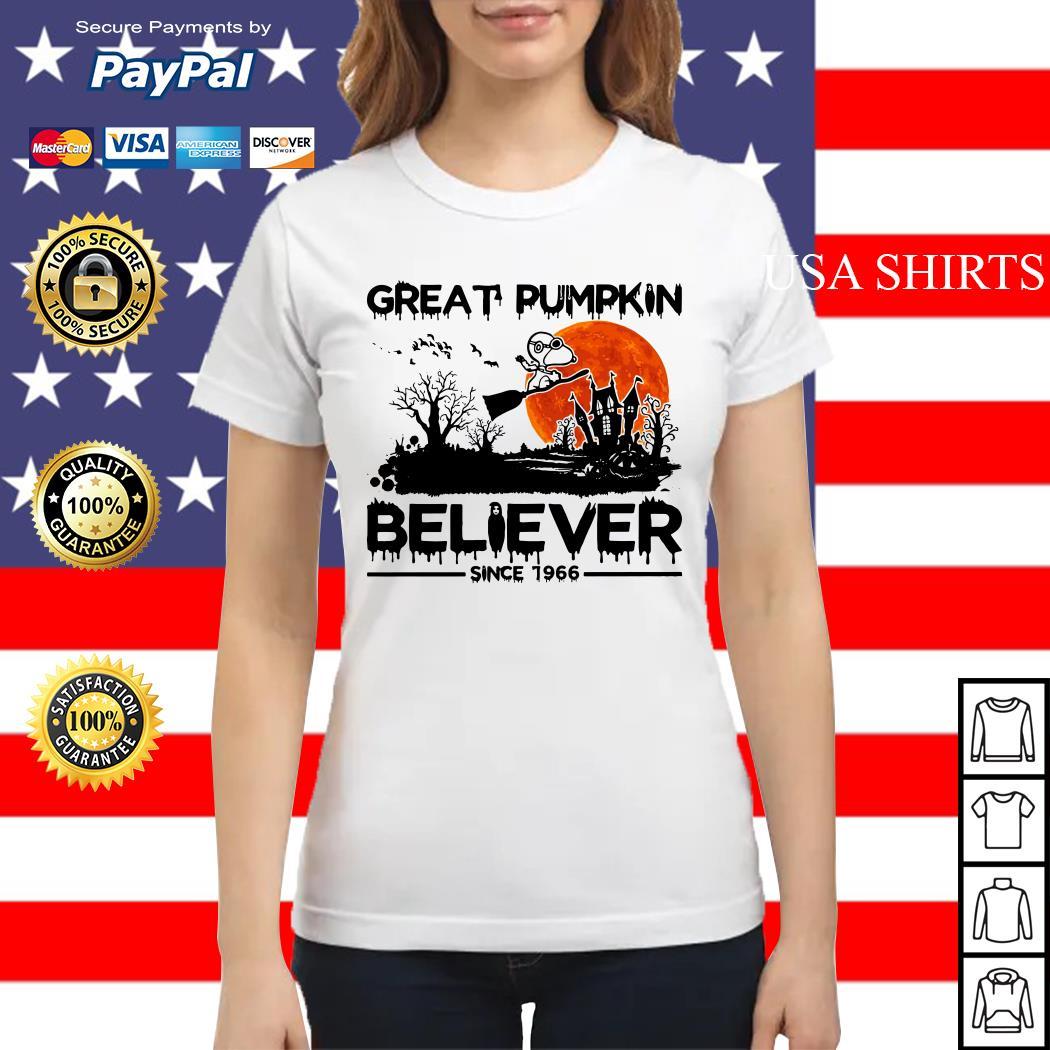 Snoopy Great pumpkin believer since 1966 Halloween Ladies tee