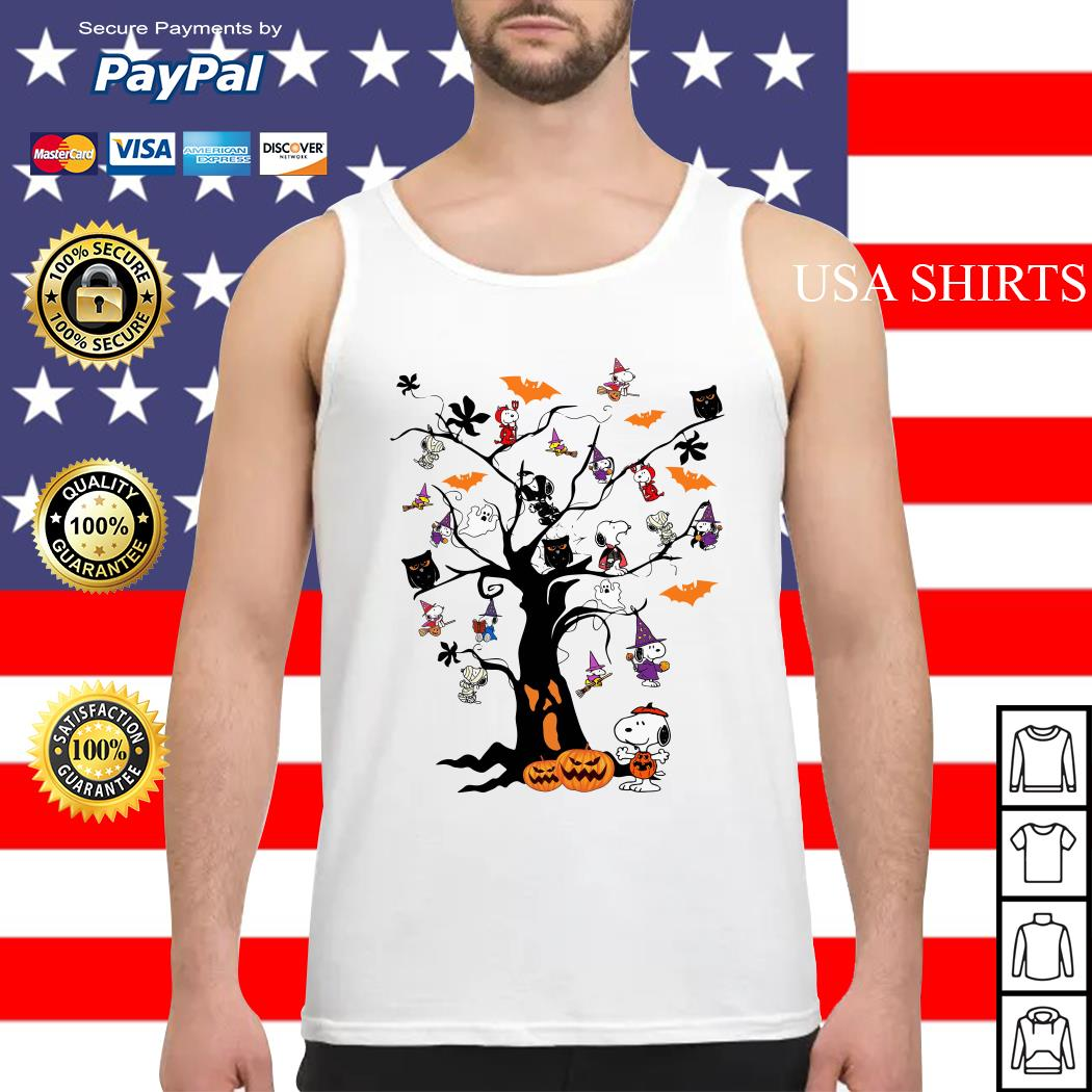 Snoopy Woodstock owl bats ghost Boo on the tree Halloween Tank top