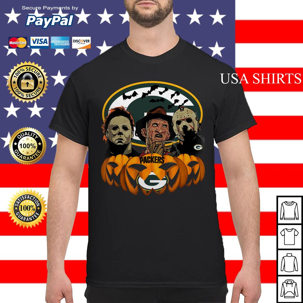 Michael Myers Jason Voorhees and Freddy Krueger Green Bay Packers Halloween shirt
