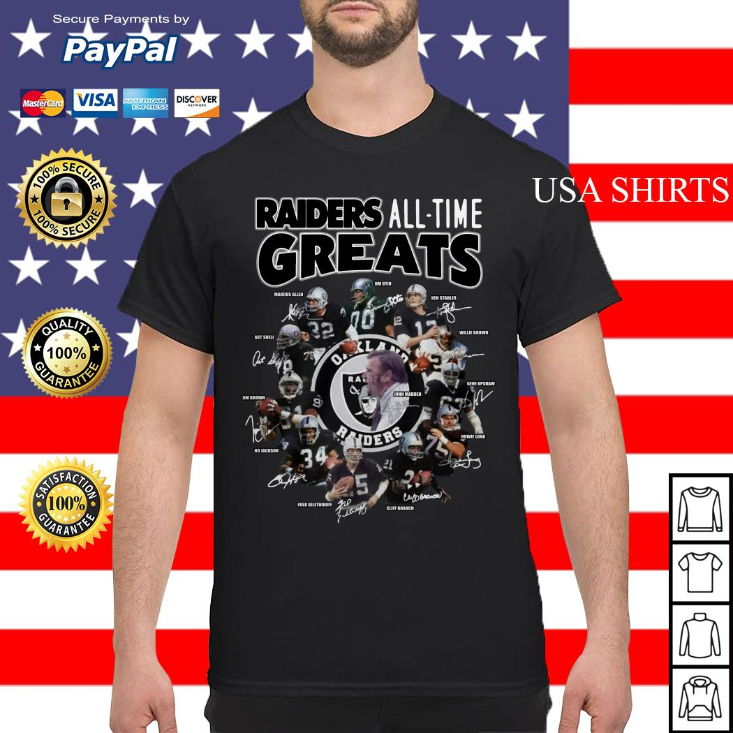 Oakland Raiders all time greats team signatures shirt