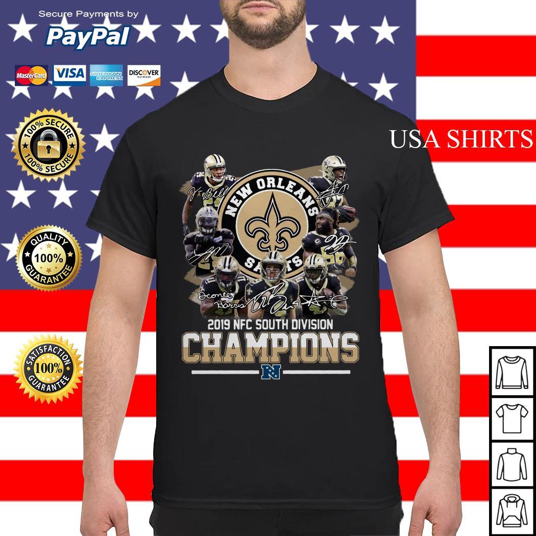 New Orleans Saints 2019 NFC south division Champions signatures shirt