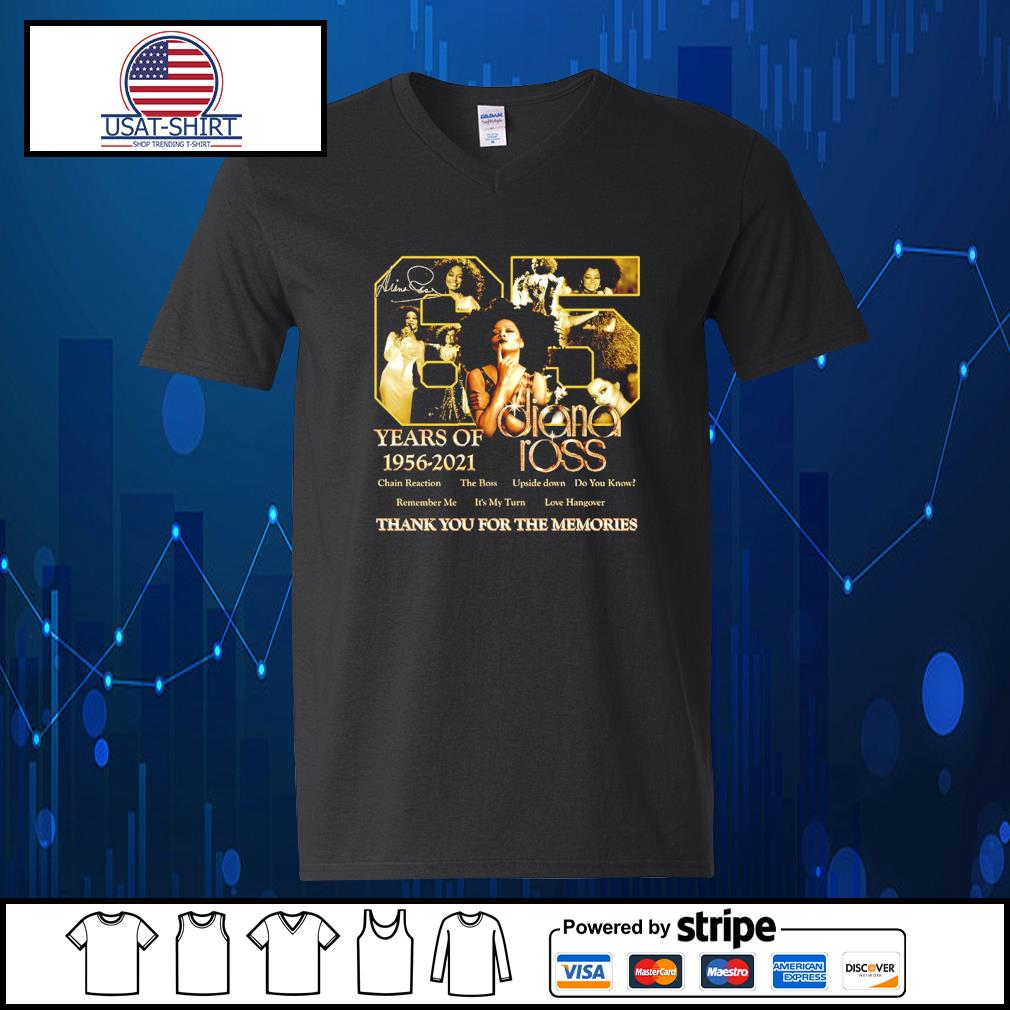 65 years of 1956 2021 Diana Ross thank you for the memories s V-neck-T-shirt