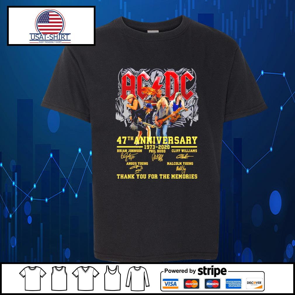 AC DC 47th anniversary 1973 2020 thank you for the memories s Kid-T-shirt