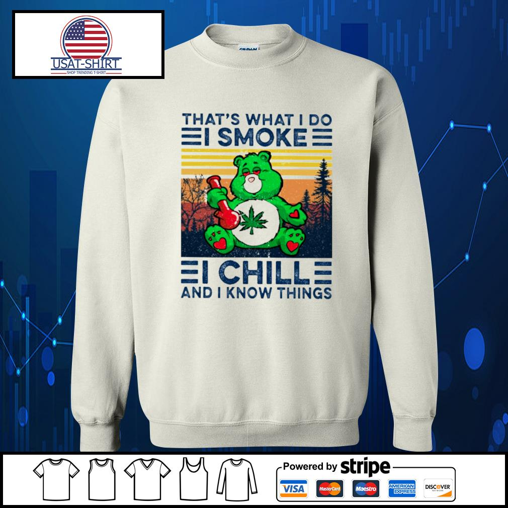 Bear that's what I do I smoke I chill and I know things vintage s Sweater