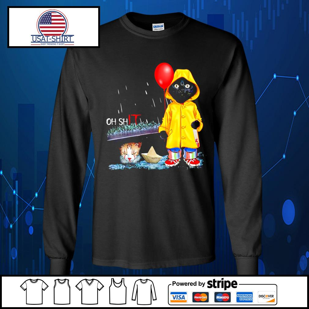 Black Cat Oh shit cat IT Pennywise Halloween s Long-Sleeves-Tee