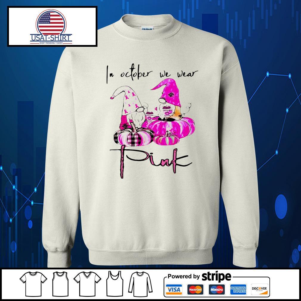 Gnomes breast cancer awareness in October we wear pink Pumpkin Halloween s Sweater