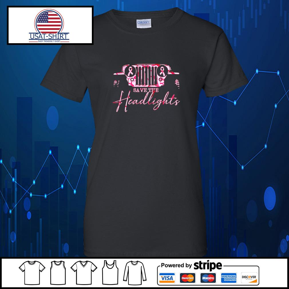Jeep pink breast cancer Save the headlights s Ladies-Tee