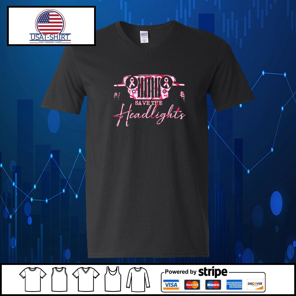 Jeep pink breast cancer Save the headlights s V-neck-T-shirt