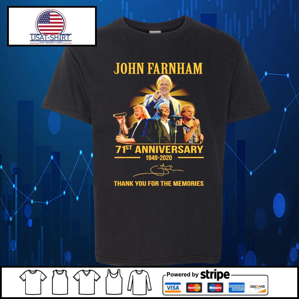 John Farnham 71st anniversary 1949 2020 thank you for the memories s Kid-T-shirt