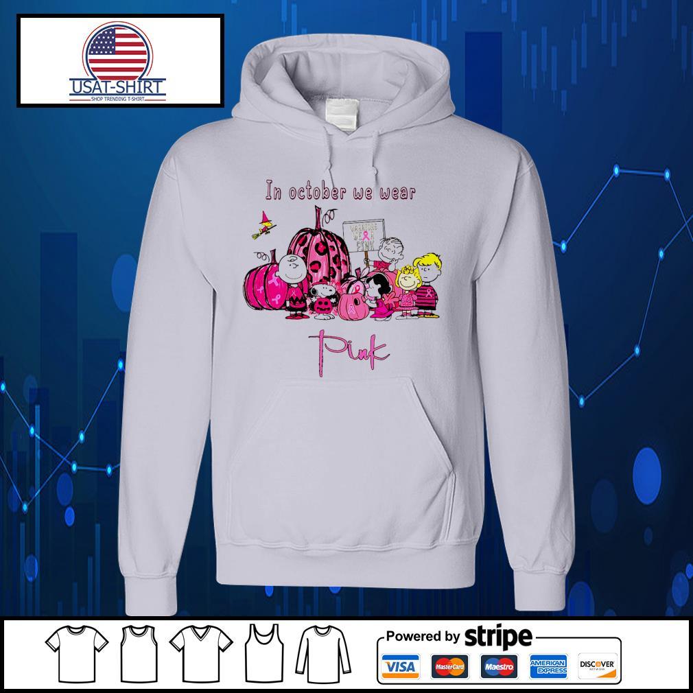 Peanuts movie breast cancer in october we wear pink Halloween s Hoodie