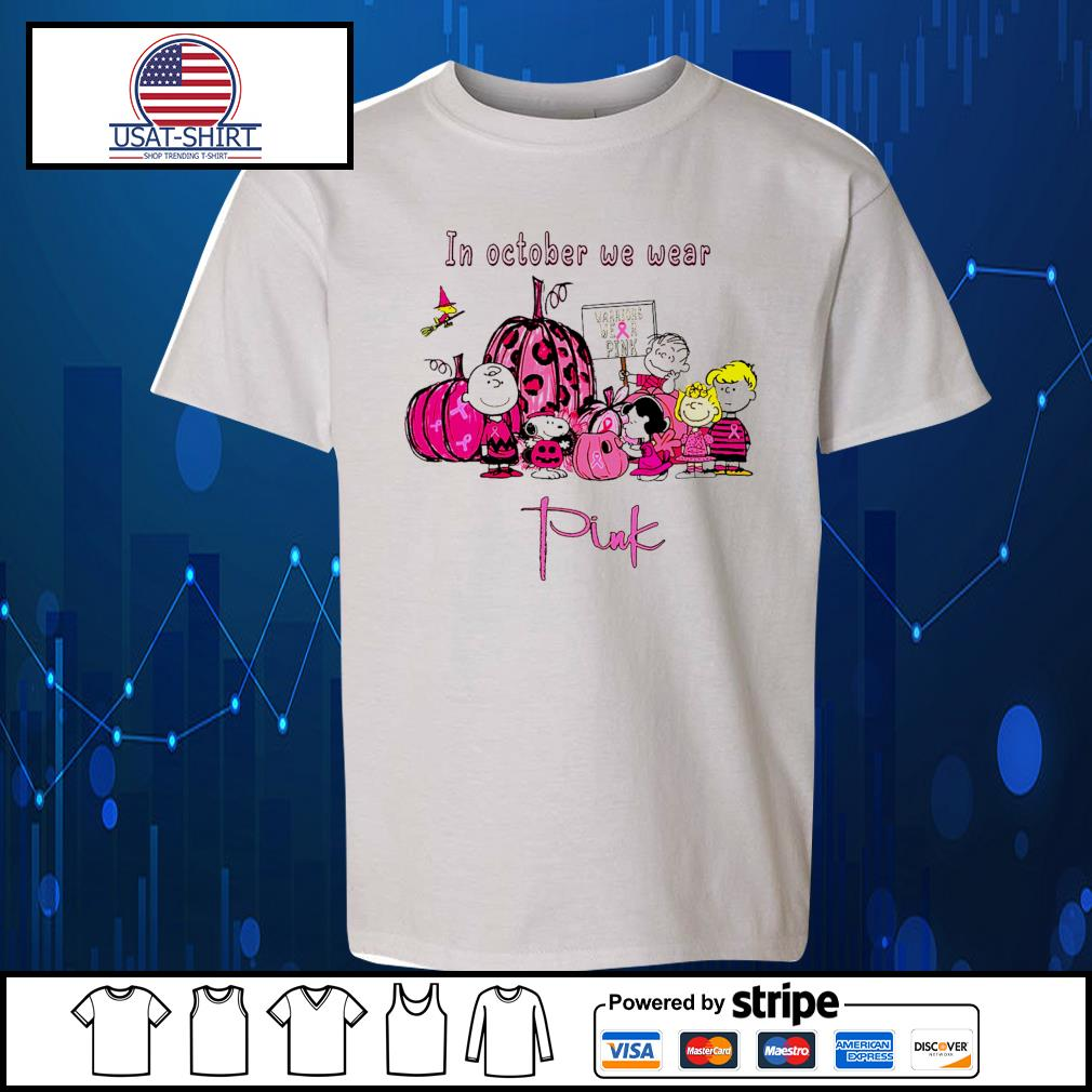 Peanuts movie breast cancer in october we wear pink Halloween s Kid-T-shirt