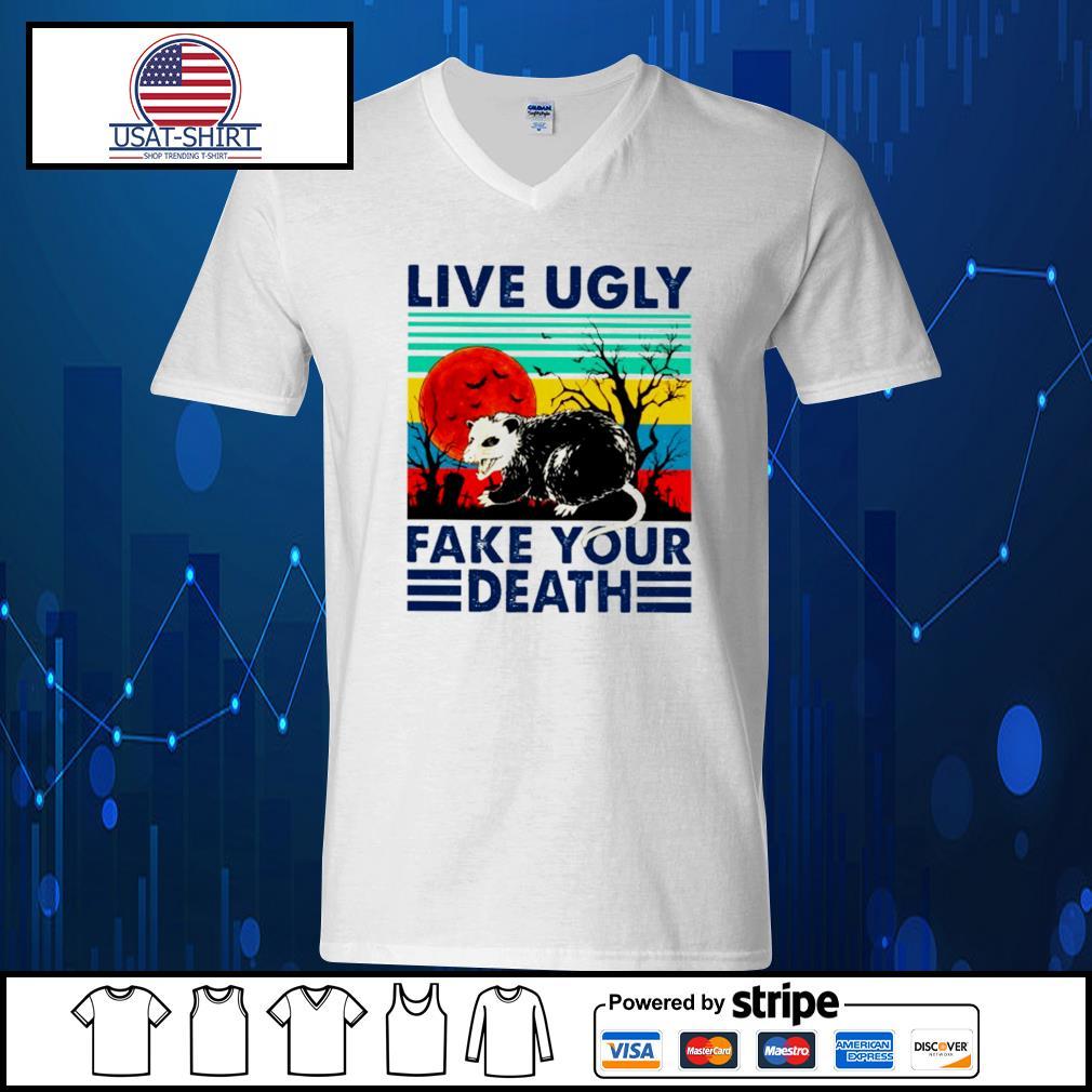 Racoon live ugly fake your death vintage Halloween s V-neck-T-shirt
