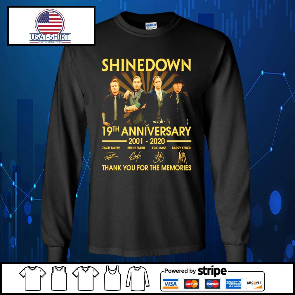 Shinedown 19th anniversary 2001 2020 thank you for the memories s Long-Sleeves-Tee