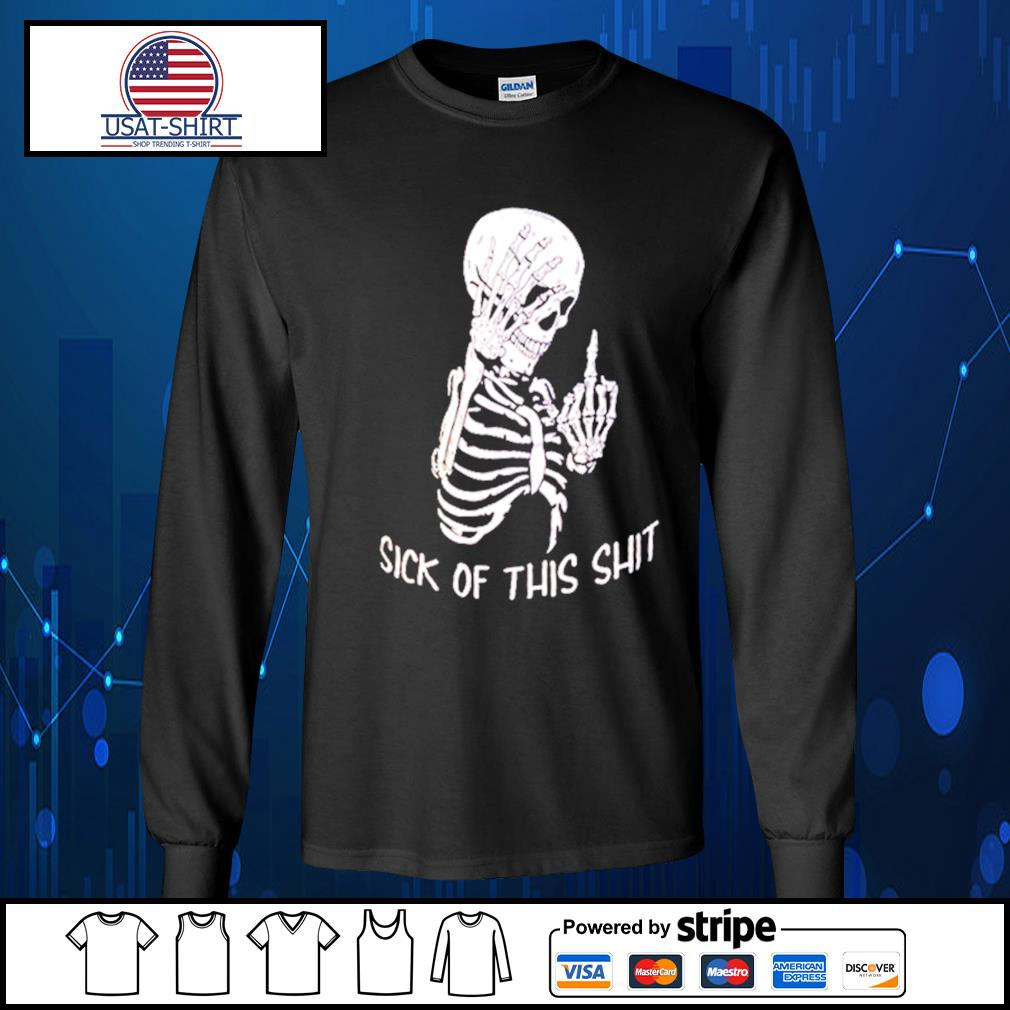 Skellington sick of this shit s Long-Sleeves-Tee