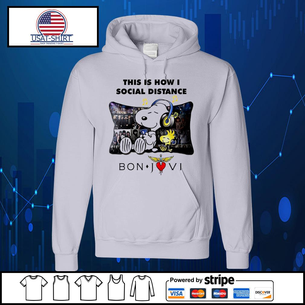 Snoopy this is how I social distance Bon Jovi s Hoodie