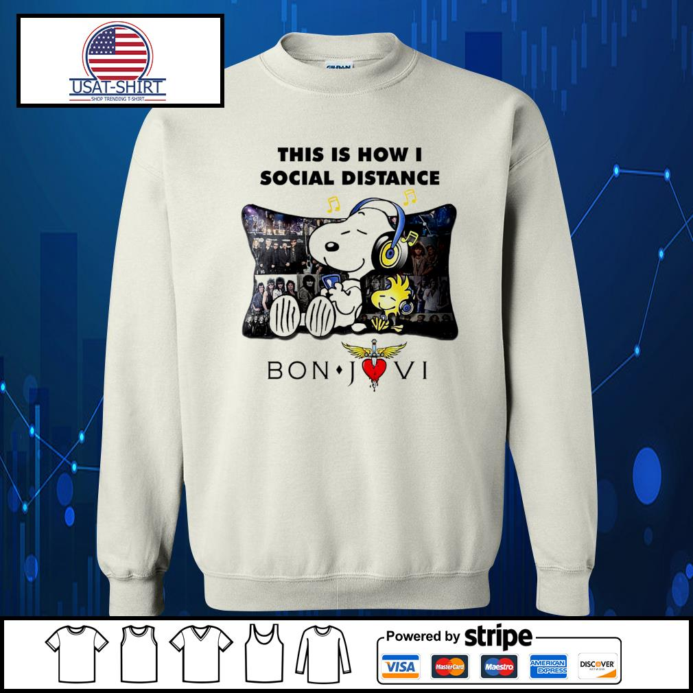 Snoopy this is how I social distance Bon Jovi s Sweater
