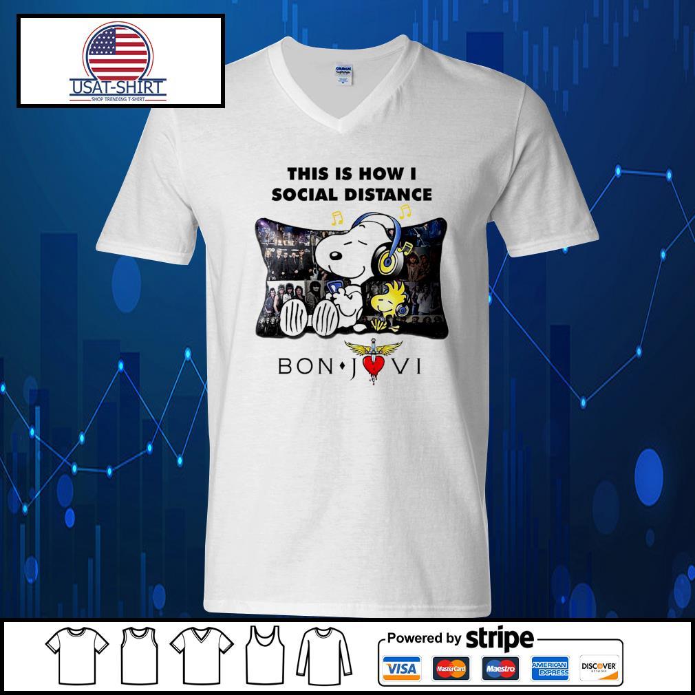 Snoopy this is how I social distance Bon Jovi s V-neck-T-shirt