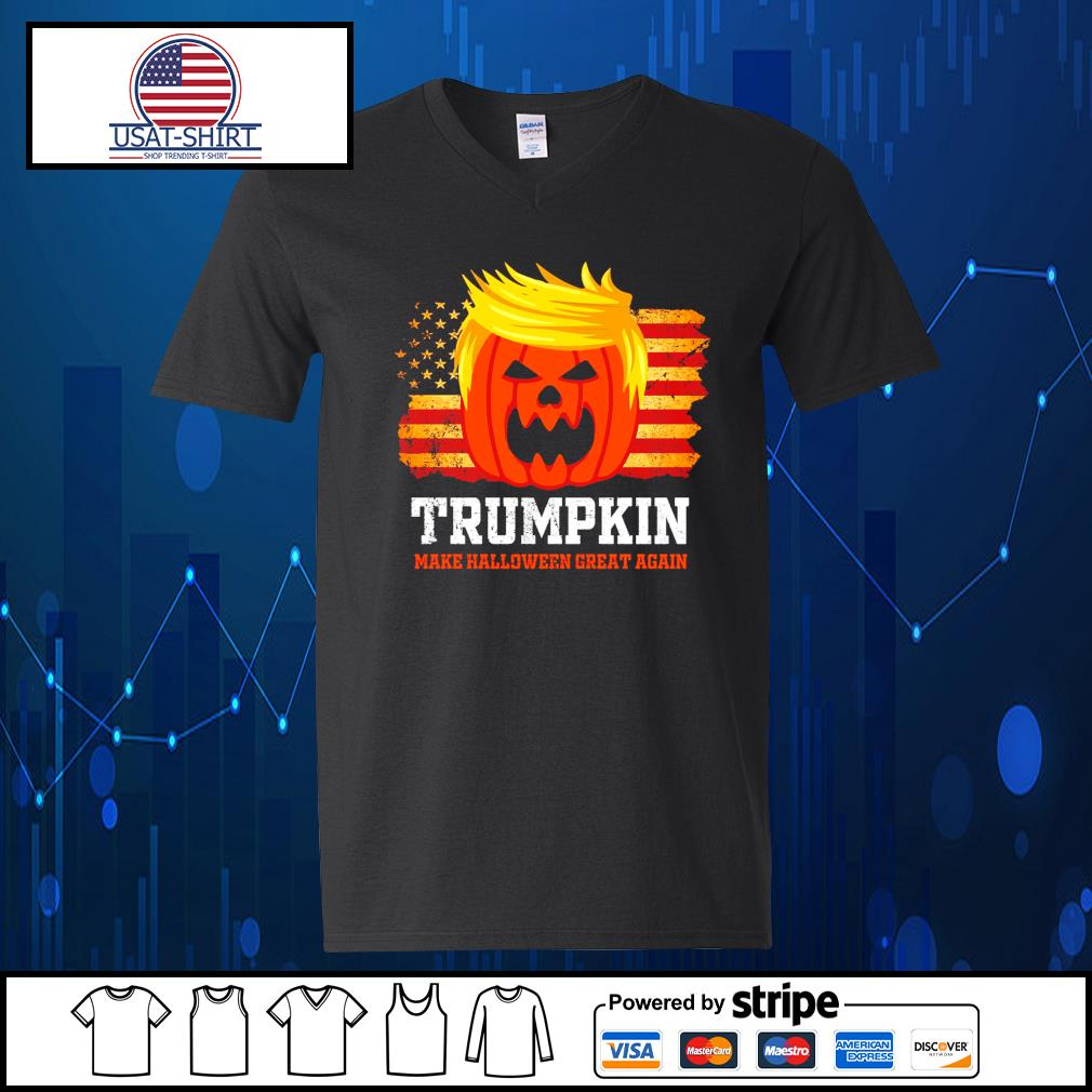 Trumpkin make halloween great again American s V-neck-T-shirt
