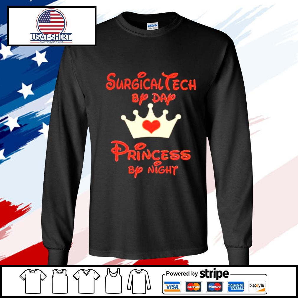 Disney surgical tech by day princess by night heart s longsleeve-tee