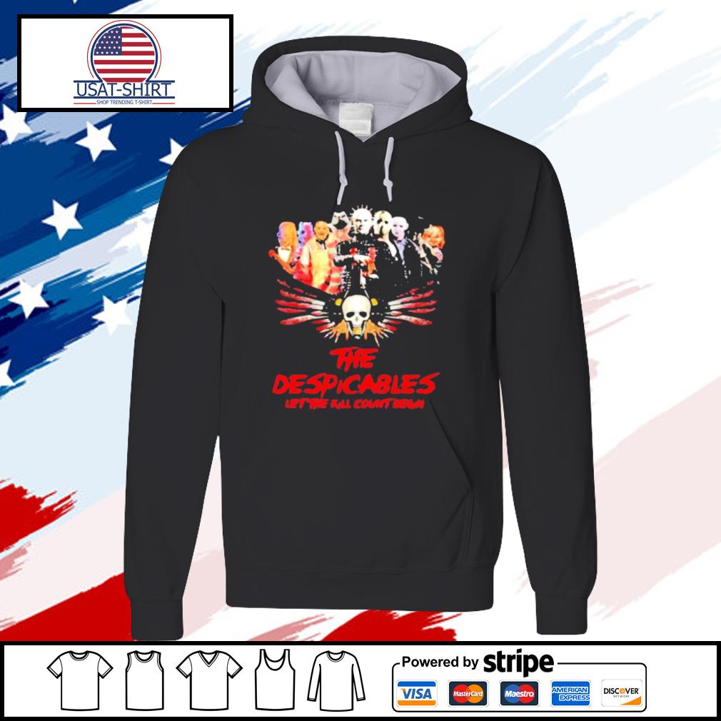 Halloween horror characters the despicables let the kill count begin skull s hoodie