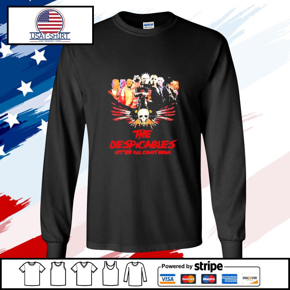 Halloween horror characters the despicables let the kill count begin skull s longsleeve-tee