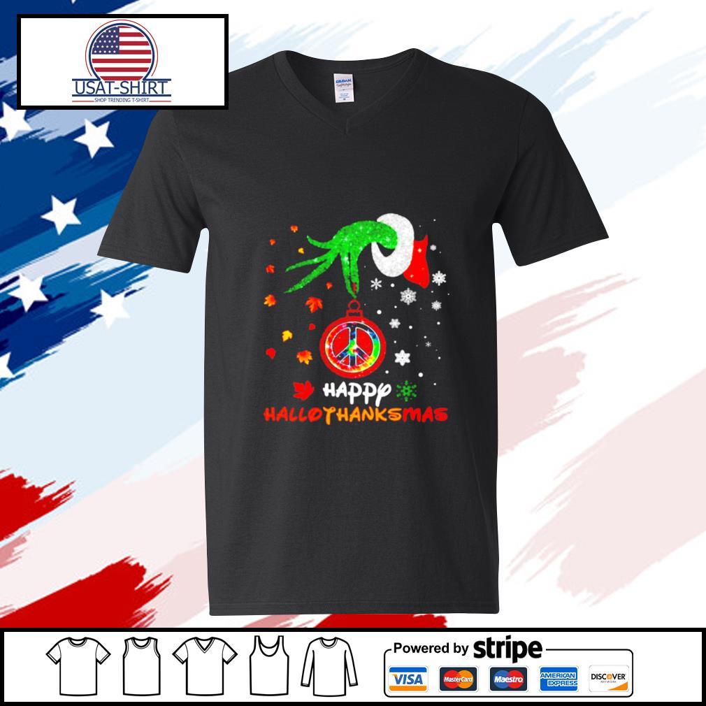 Hippie Grinch Hand Happy Hallothanksmas s v-neck-t-shirt