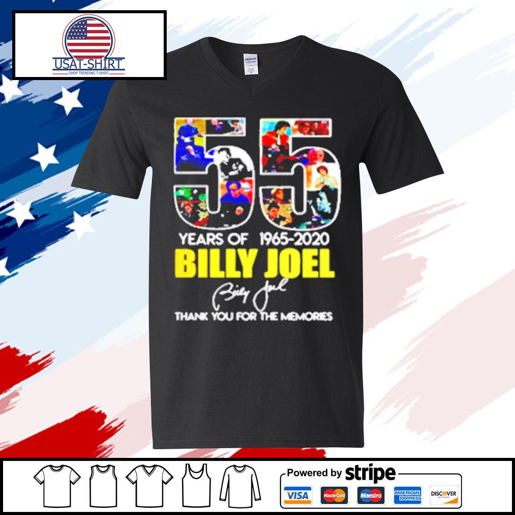 Billy Joel 55Th Years Of 1965 2020 Signature Thank You For Memories s v-neck t-shirt