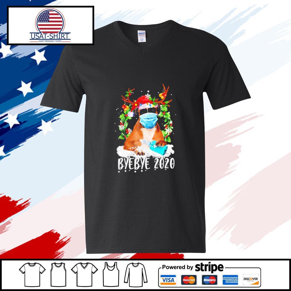 Boxer Christmas Face Mask Bye Bye 2020 Xmas Dog s v-neck-t-shirt