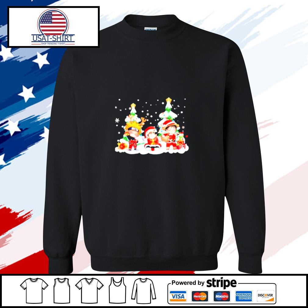 Chibi Naruto Son Goku and Monkey D Luffy Merry Christmas s sweater