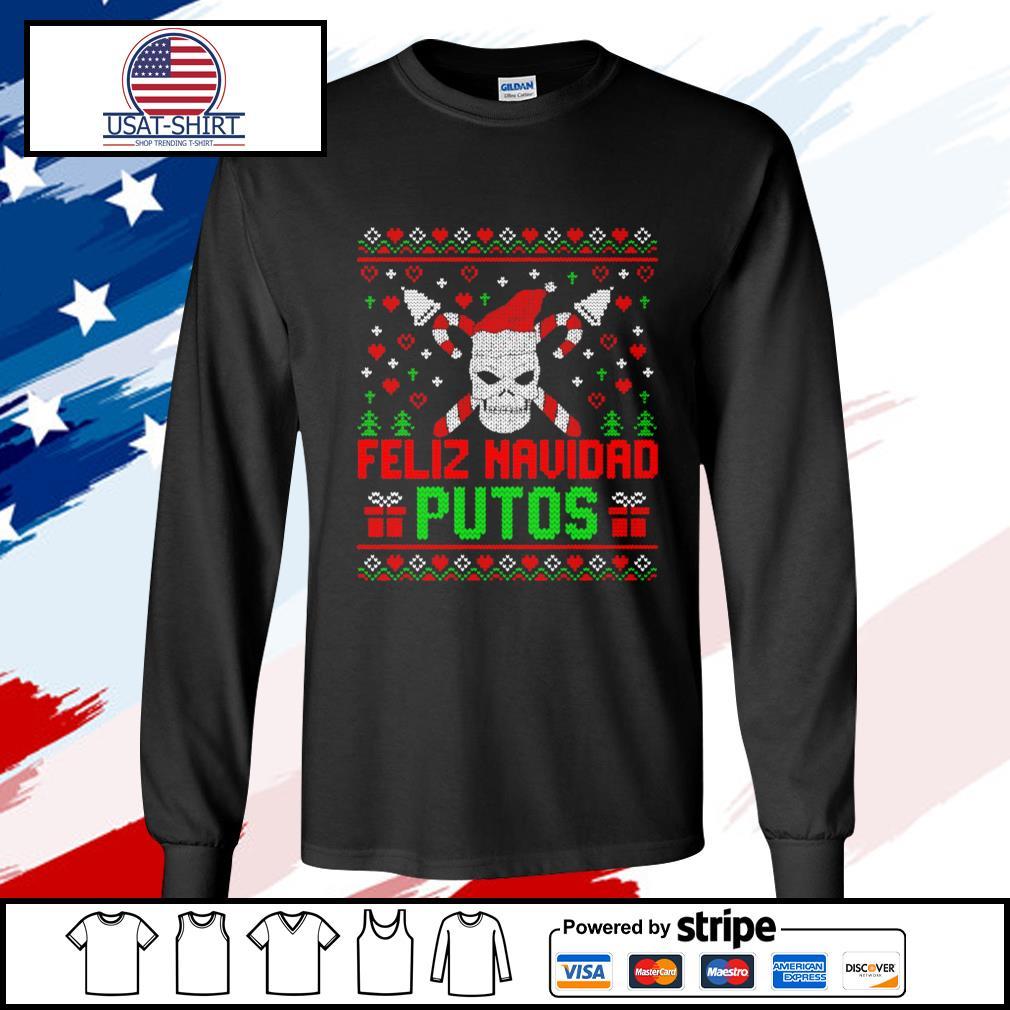 Feliz Navidad Putos Skull Ugly Christmas s longsleeve-tee