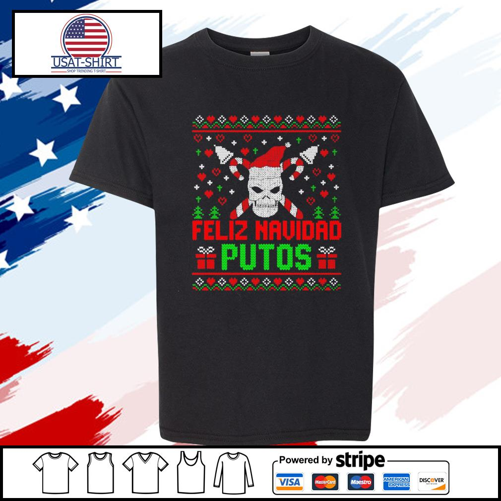 Feliz Navidad Putos Skull Ugly Christmas s youth-tee