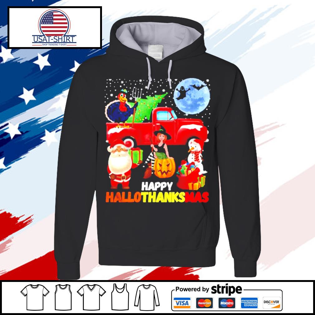 Happy hallothanksmas halloween thanksgiving christmas s hoodie
