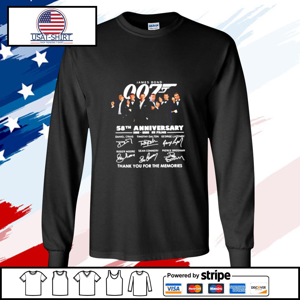 James Bond 007 58th Anniversary 1962 2020 2s Films Thank You For The Memories Signatures s longsleeve-tee