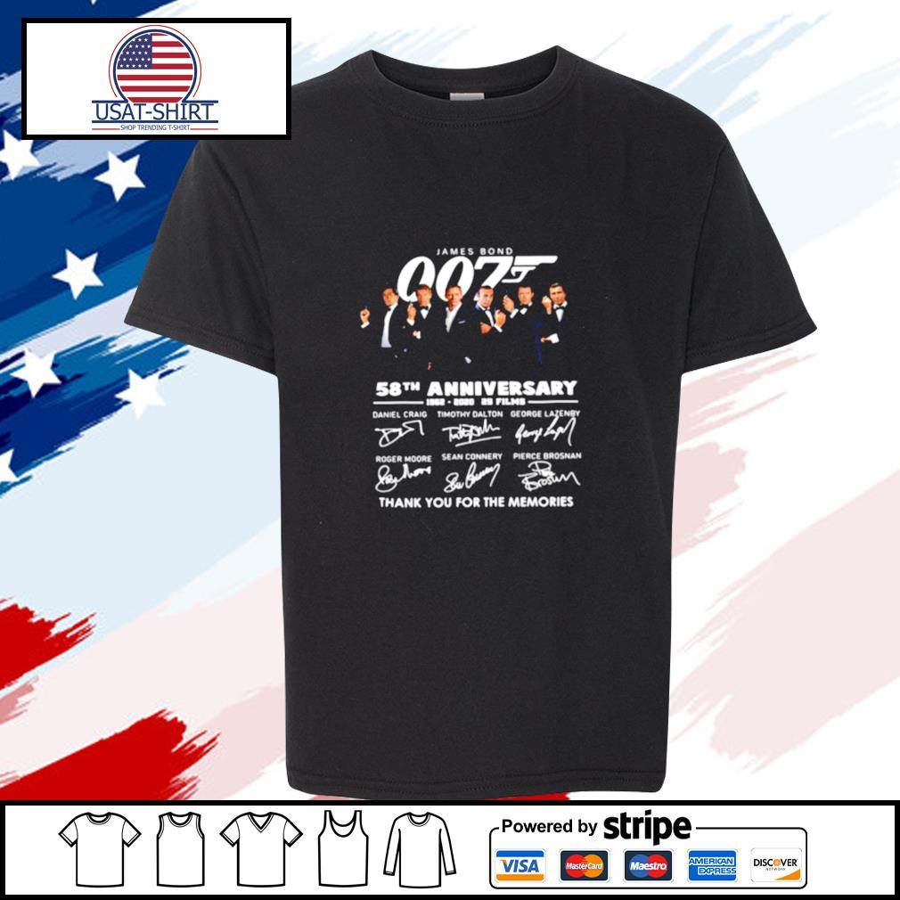James Bond 007 58th Anniversary 1962 2020 2s Films Thank You For The Memories Signatures s youth-tee