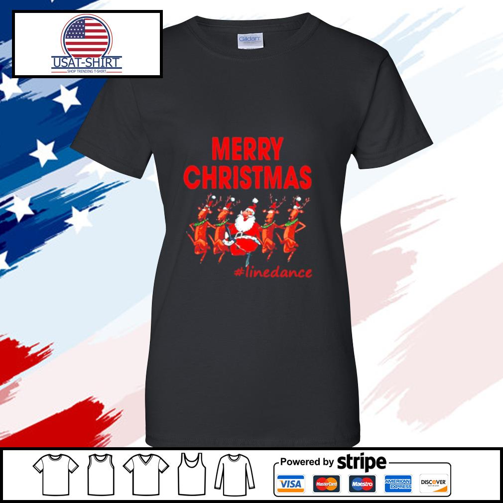 Santa Clau Merry Christmas Line Dancing s ladies tee