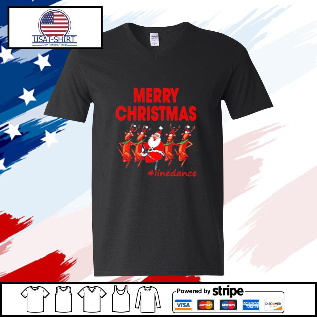 Santa Clau Merry Christmas Line Dancing s v-neck t-shirt