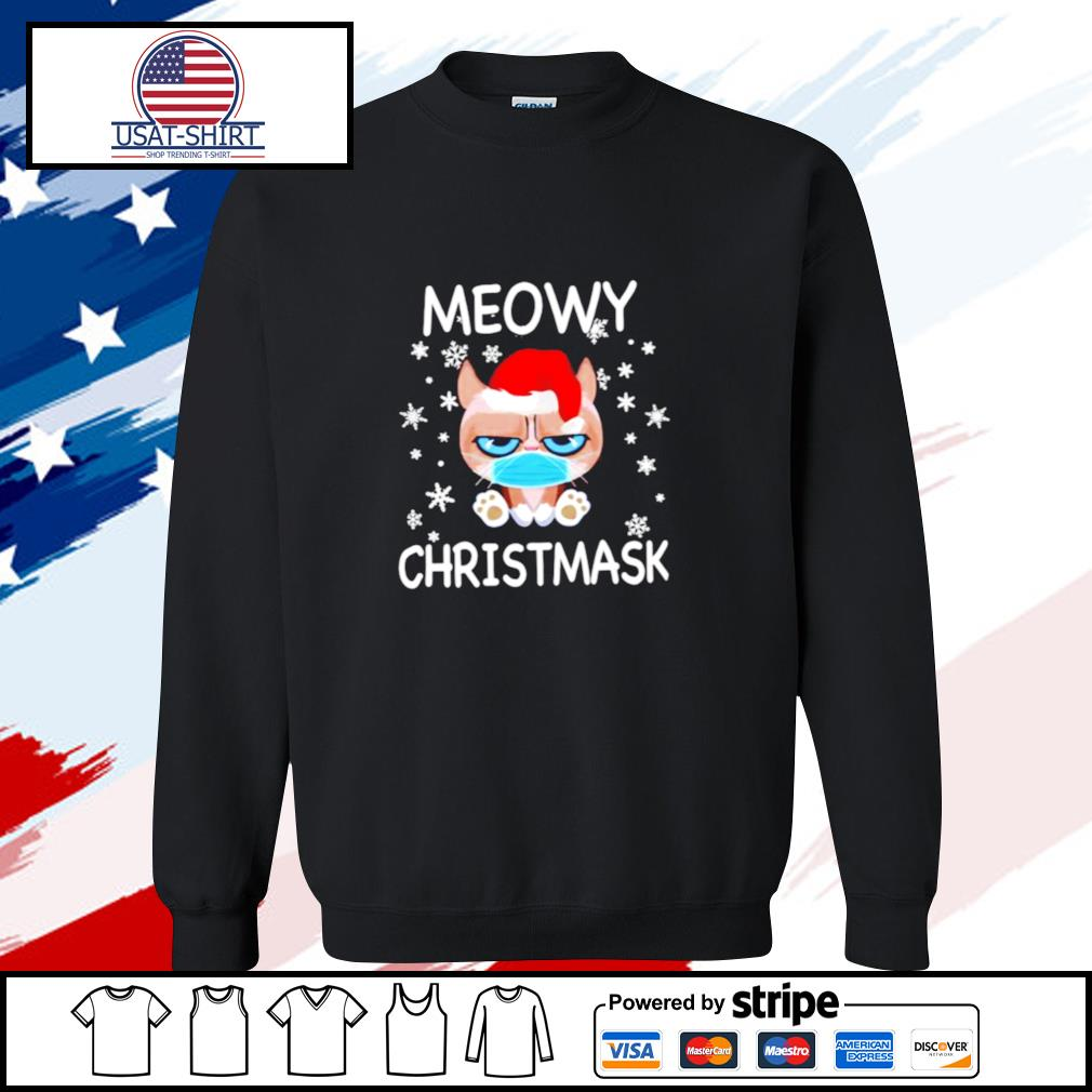 Santa Grumpy Cat Face Mask Meowy christmas s sweater
