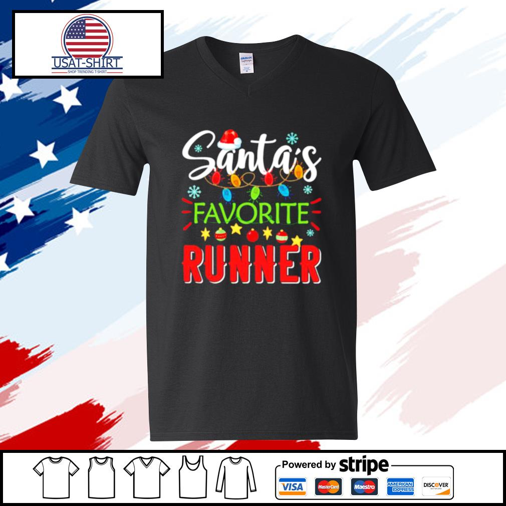 Santa's Favorite Runner Xmas Light Santa Hat Christmas Gift Santas Favorite Runner s v-neck t-shirt